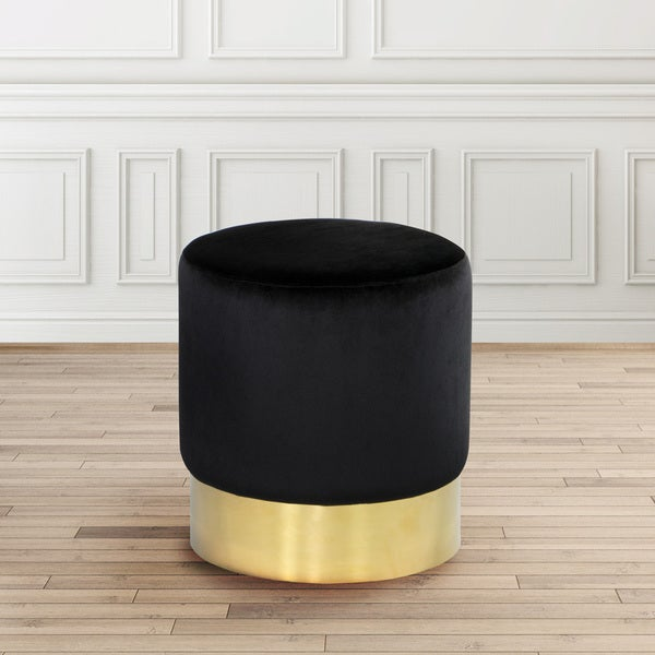Shop Modern Round Gold And Black Velvet Upholstered Foot