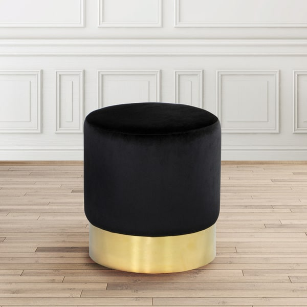 Shop Modern Round Gold And Black Velvet Upholstered Foot Stool Ottoman Free Shipping Today Overstock 15258858