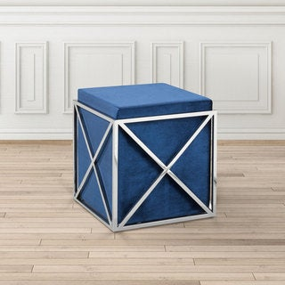 Uptown Club Nixon Polished Steel Upholstered Ottoman