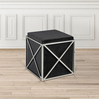 Uptown Club Nixon Polished Steel Upholstered Leatherette Ottoman