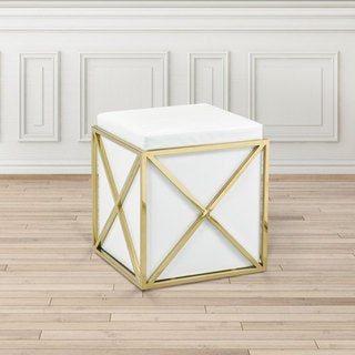 Modern Square White Faux Leather Upholstered Gold Metal Foot Stool Ottoman