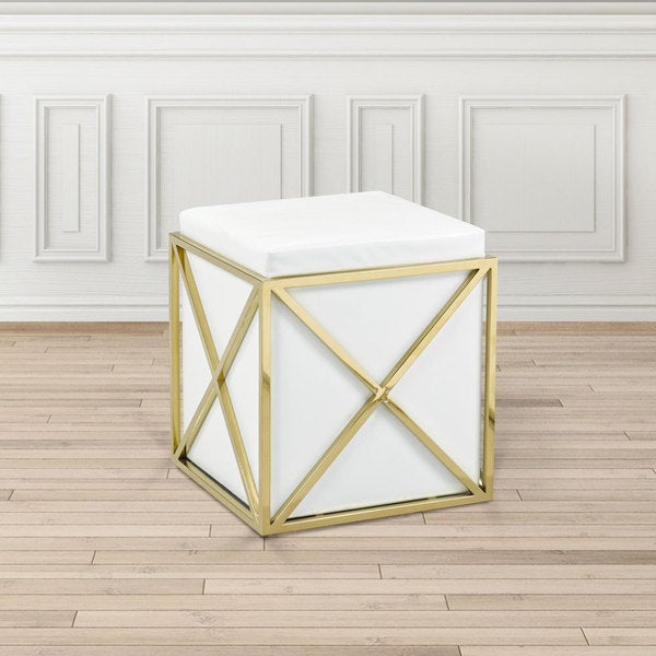 Shop Modern Square White Faux Leather Upholstered Gold