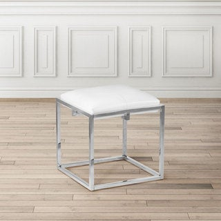 Foot Stool Ottoman Upholstered in White Faux Leather
