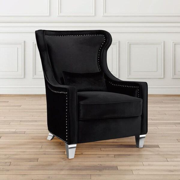 Black Wingback Velvet Upholstered Nailhead Accent Chair