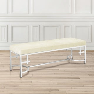 Uptown Club Zealand White Linen Accent Bench