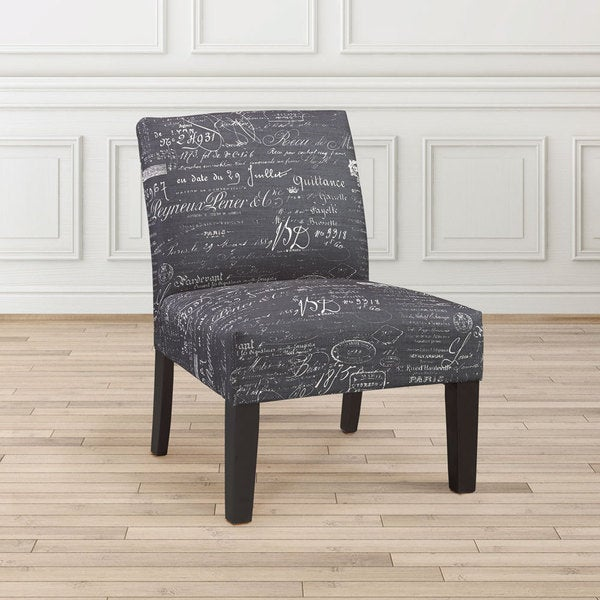 Shop Gray Script Upholstered Armless Accent Slipper Chair ...