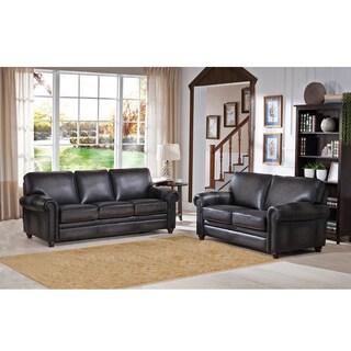 Alva Premium Grey Top Grain Leather Sofa and Loveseat
