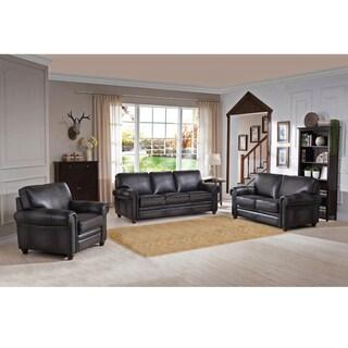 Alva Premium Grey Top Grain Leather Sofa, Loveseat and Chair