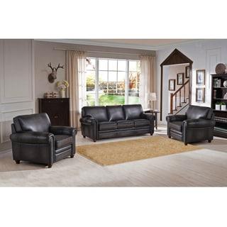 Alva Premium Grey Top Grain Leather Sofa and Two Chairs