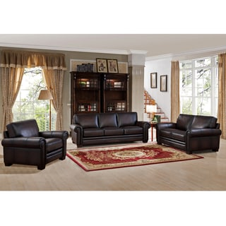 Airlie Premium Brown Top Grain Leather Sofa, Loveseat and Chair