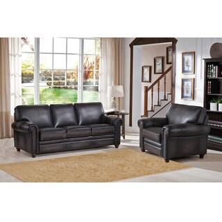 Alva Premium Grey Top Grain Leather Sofa and Chair