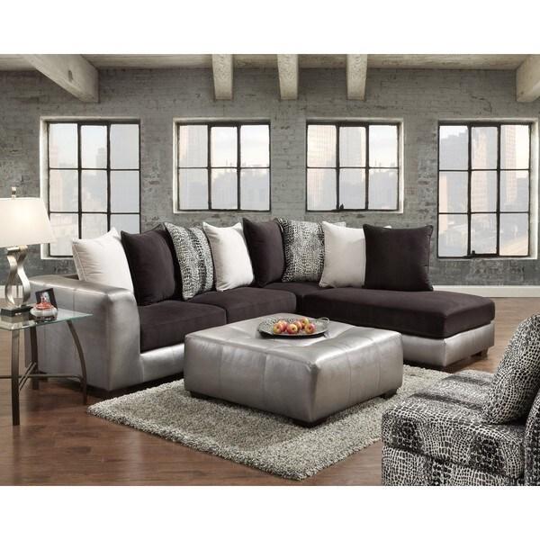 Pleasing Sofa Trendz Ciara Shimmer Pewter Sectional Inzonedesignstudio Interior Chair Design Inzonedesignstudiocom