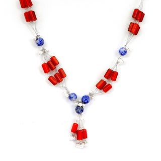 Orchid Jewelry Blue Dot Agate, Carnelian and Pearl 925 Sterling Silver Beaded Necklace