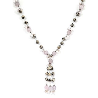 Orchid Jewelry Rose Quartz, Dalmatian and Pearl 925 Sterling Silver Beaded Necklace