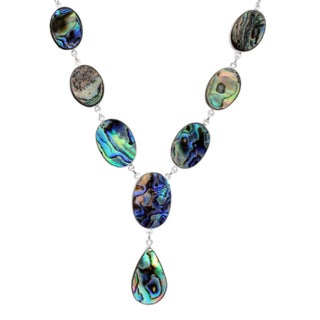 Orchid Jewelry Abalone Shell 925 Sterling Silver Statement Necklace