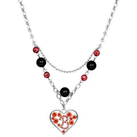 Orchid Jewelry Onyx and Cubic Zirconia 925 Sterling Silver Heart Necklace