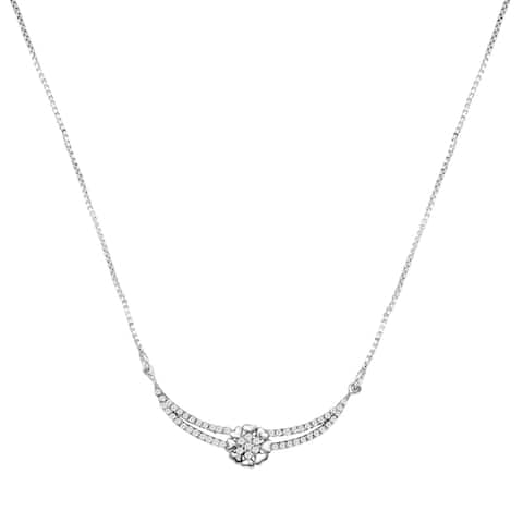Cubic Zirconia Sterling Silver Round Chain Necklace by Orchid Jewelry
