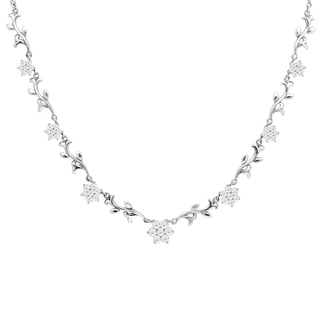 Orchid Jewelry Cubic Zirconia 925 Sterling Silver Fashion Necklace