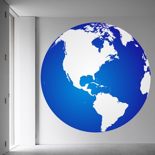 7ae61f67a7 Shop Full Color Blue Earth Globe Map Full Color Wall Decal Sticker Sticker  Decal (48x48) - Free Shipping Today - Overstock - 15259209