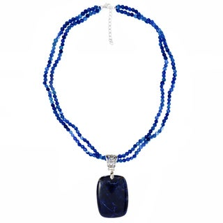 Sterling Silver Sodalite Pendant with 18-inch Beaded Necklace
