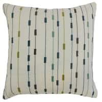 Ancelin Stripes 22-inch Down Feather Throw Pillow Lagoon