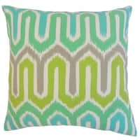 Cahya Geometric 22-inch Down Feather Throw Pillow Aqua