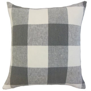 Amory Plaid 22-inch Down Feather Throw Pillow Coal