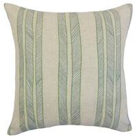 Drum Stripes 22-inch Down Feather Throw Pillow Grass