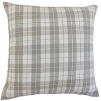 Joss Plaid 22-inch Down Feather Throw Pillow Slate