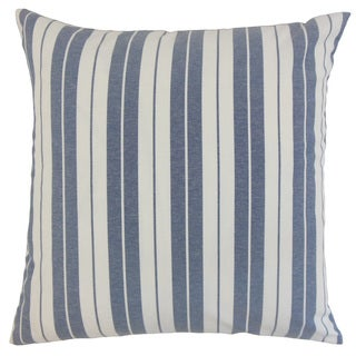 "Henley Stripes 22"" x 22"" Down Feather Throw Pillow Navy"