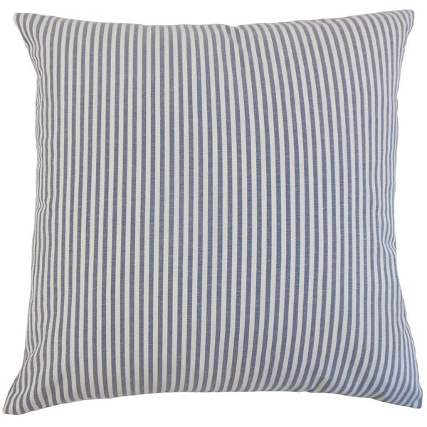 "Ira Stripes 22"" x 22"" Down Feather Throw Pillow Navy"