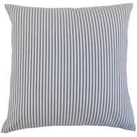 """Ira Stripes 22"""" x 22"""" Down Feather Throw Pillow Navy"""