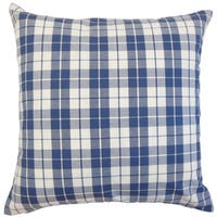 Joss Plaid 22-inch Down Feather Throw Pillow Navy