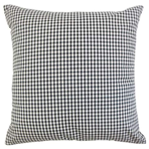 Keats Plaid 22-inch Down Feather Throw Pillow Black