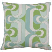Nairobi Geometric 22-inch Down Feather Throw Pillow Aqua Green