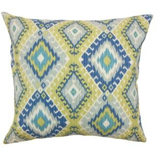 Jinja Ikat 22-inch Down Feather Throw Pillow Aegean
