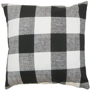 Alfonso Plaid 22-inch Down Feather Throw Pillow Black White