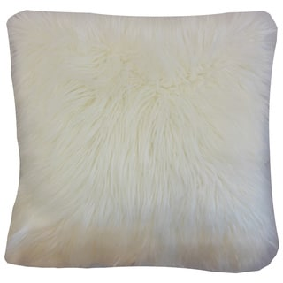 "Valeska Faux Fur 22"" x 22"" Down Feather Throw Pillow Off White"
