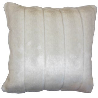 Valeska Faux Fur 22-inch Down Feather Throw Pillow Beige
