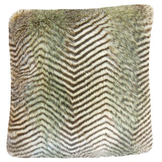 Valeska Faux Fur 22-inch Down Feather Throw Pillow Brown Zigzag