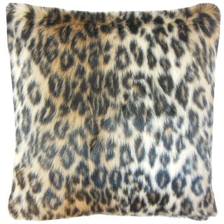 Valeska Faux Fur 22-inch Down Feather Throw Pillow Brown