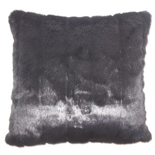 Valeska Faux Fur 22-inch Down Feather Throw Pillow Black