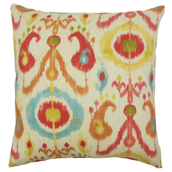 Ikea Ikat 22 Inch Down Feather Throw Pillow Papaya
