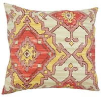 """Helia Ikat 22"""" x 22"""" Down Feather Throw Pillow Currant"""