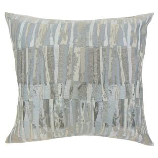 "Prunella Stripes 22"" x 22"" Down Feather Throw Pillow Grey"