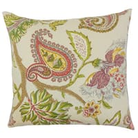 Julitte Floral 22-inch Down Feather Throw Pillow Green