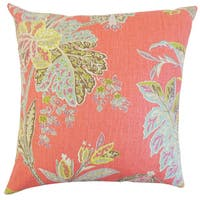 Taja Floral 22-inch Down Feather Throw Pillow Festival