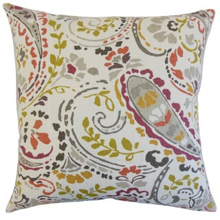 Robbia Floral 22-inch Down Feather Throw Pillow Quary