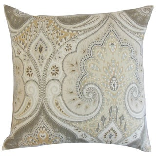Kirrily Damask 22-inch Down Feather Throw Pillow Limestone