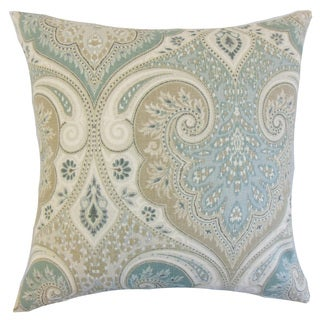 Kirrily Damask 22-inch Down Feather Throw Pillow Seafoam